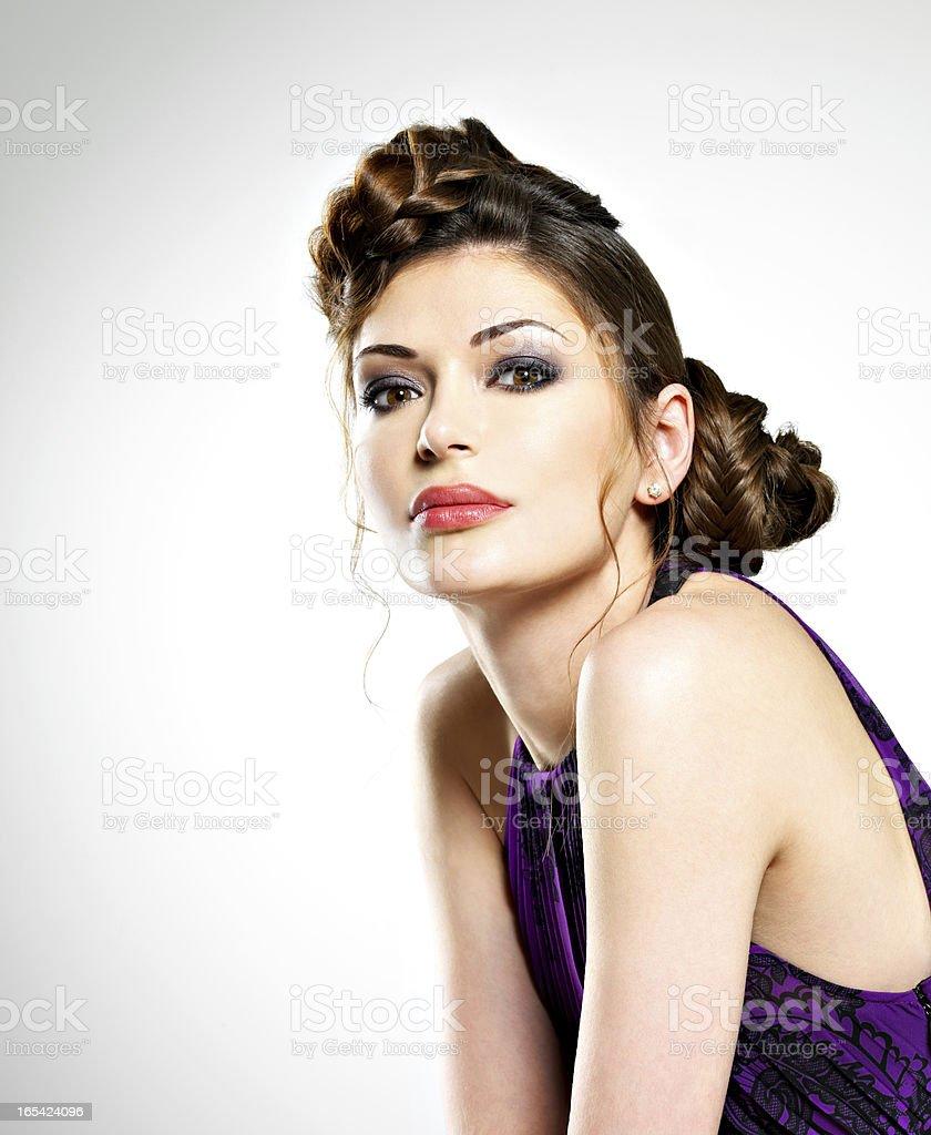 Beautiful  woman with stylish hairstyle royalty-free stock photo