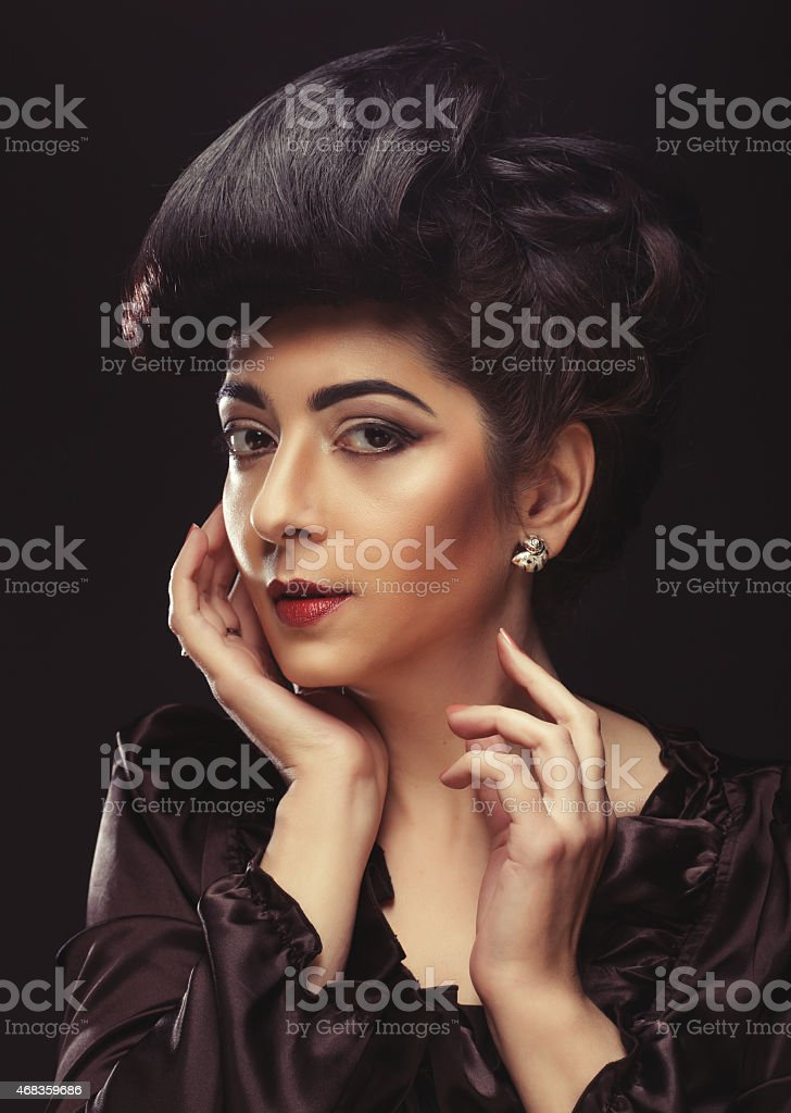 beautiful woman with stylish hairstyle royalty-free stock photo