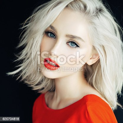 istock Beautiful woman with stylish hairstyle 620704818