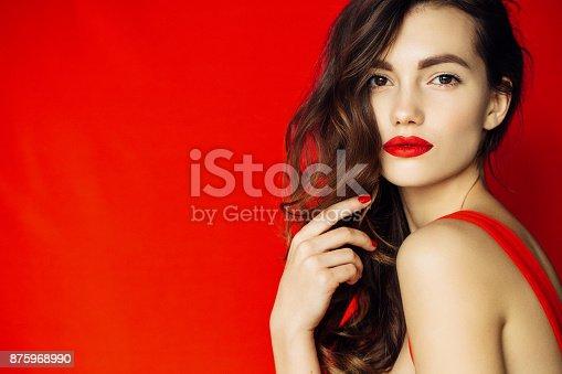 istock Beautiful woman with stylish hairstyle 875968990