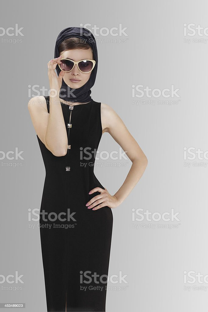 Beautiful woman with sunglasses stock photo