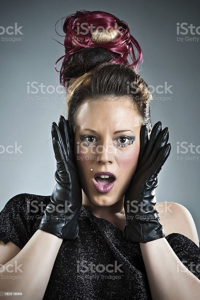 Beautiful woman with surprise face. royalty-free stock photo