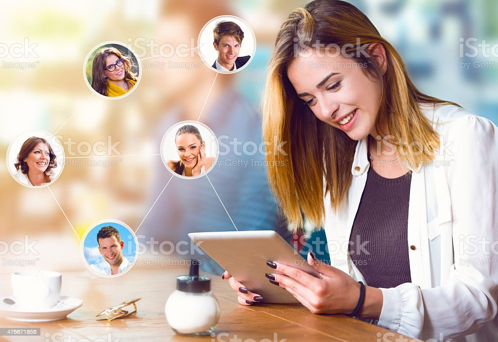 Beautiful woman with tablet, communication and connection concept stock photo