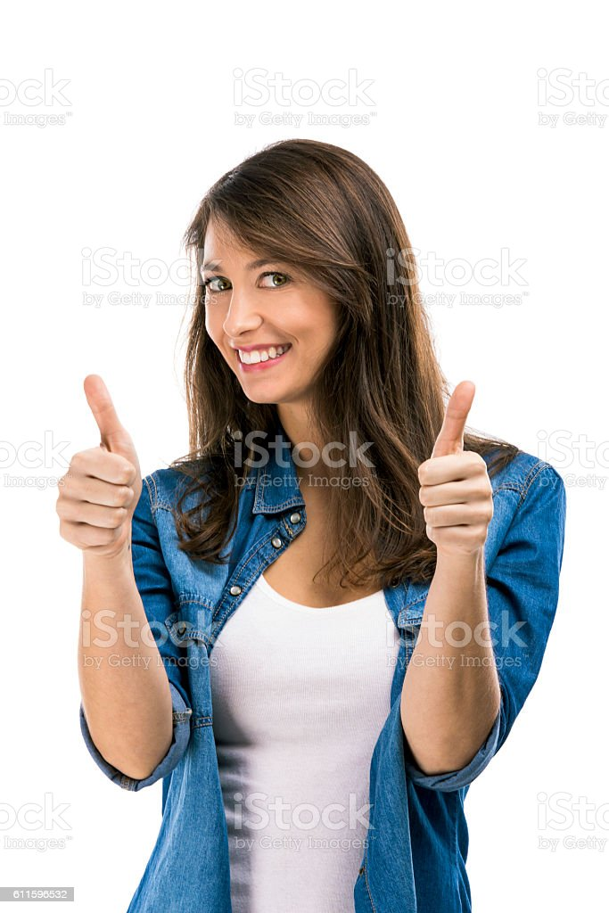Beautiful woman with thumbs up, isolated over white background – Foto