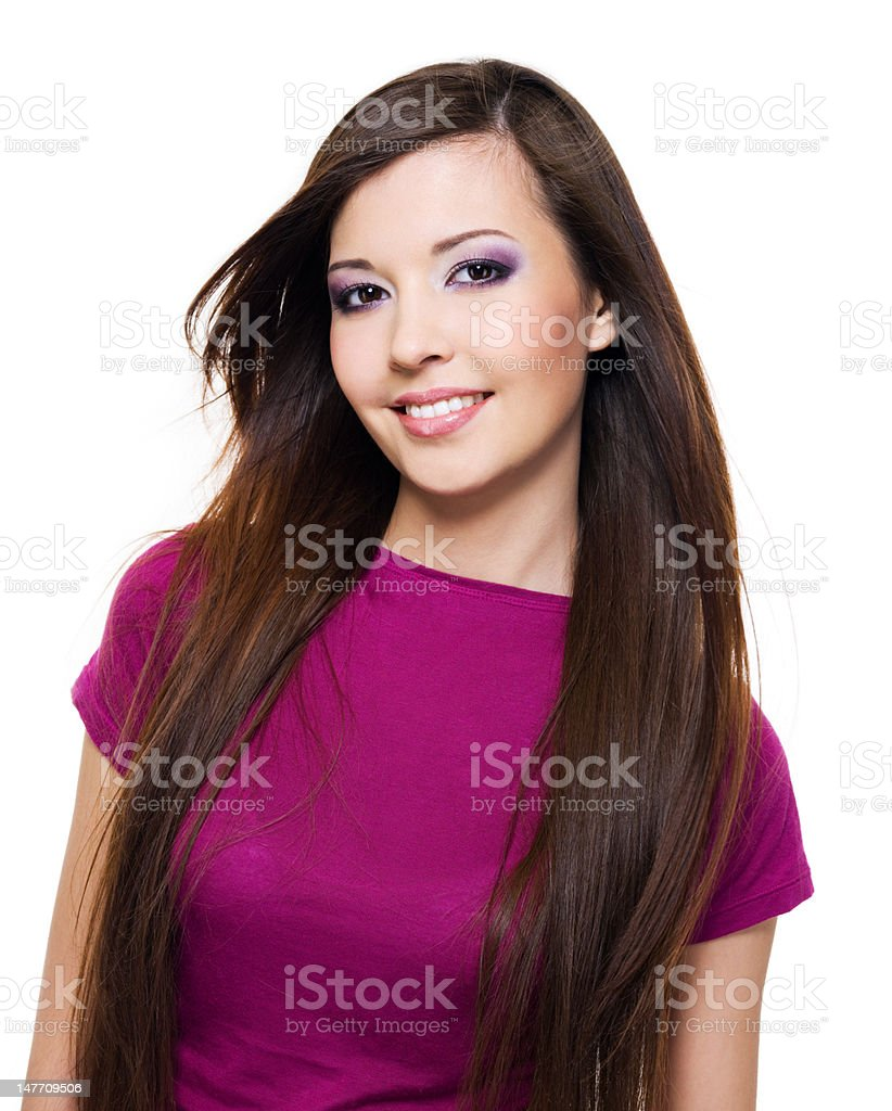 beautiful woman with toothy smile royalty-free stock photo