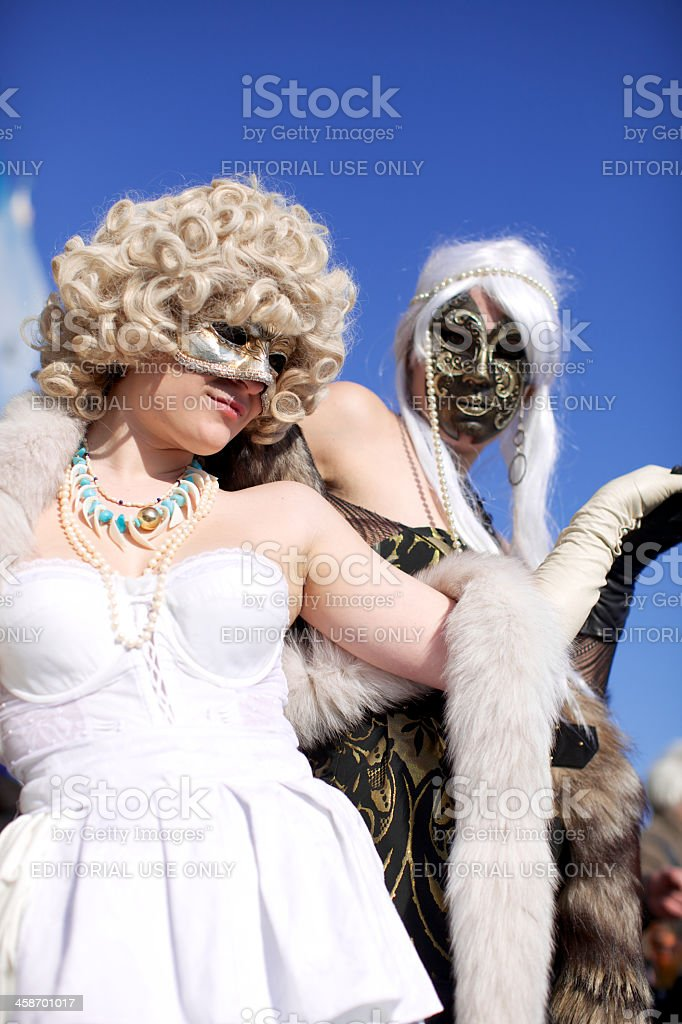 Beautiful woman with typical venetian carnival costume royalty-free stock photo