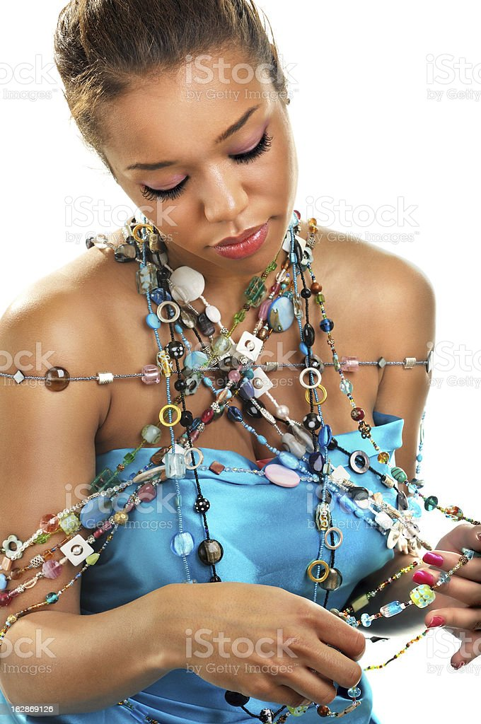 Beautiful woman with various art of necklace royalty-free stock photo