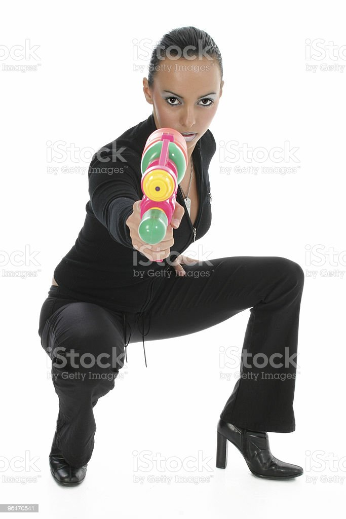 Beautiful Woman with Watergun royalty-free stock photo