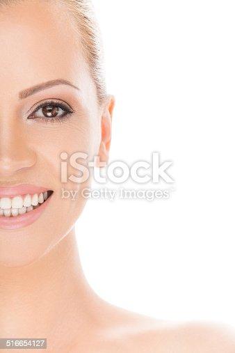 673361134 istock photo Beautiful woman with white teeth 516654127
