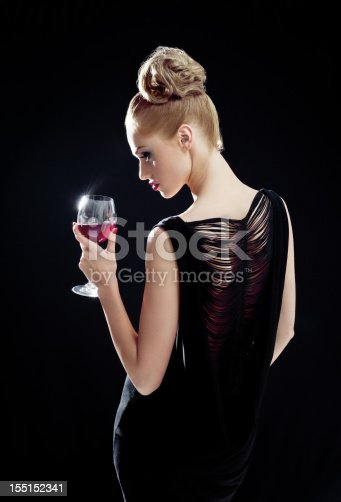 istock Beautiful woman with wineglass 155152341