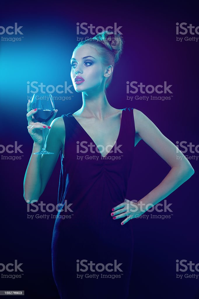 Beautiful woman with wineglass royalty-free stock photo