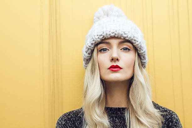 Beautiful woman with winter hat stock photo
