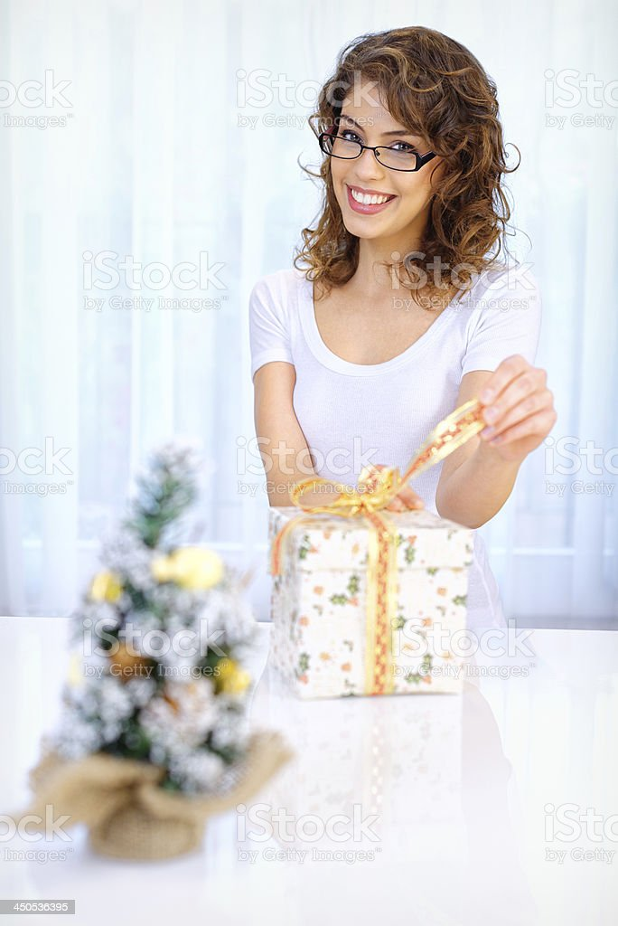 Beautiful woman with xmas gift royalty-free stock photo