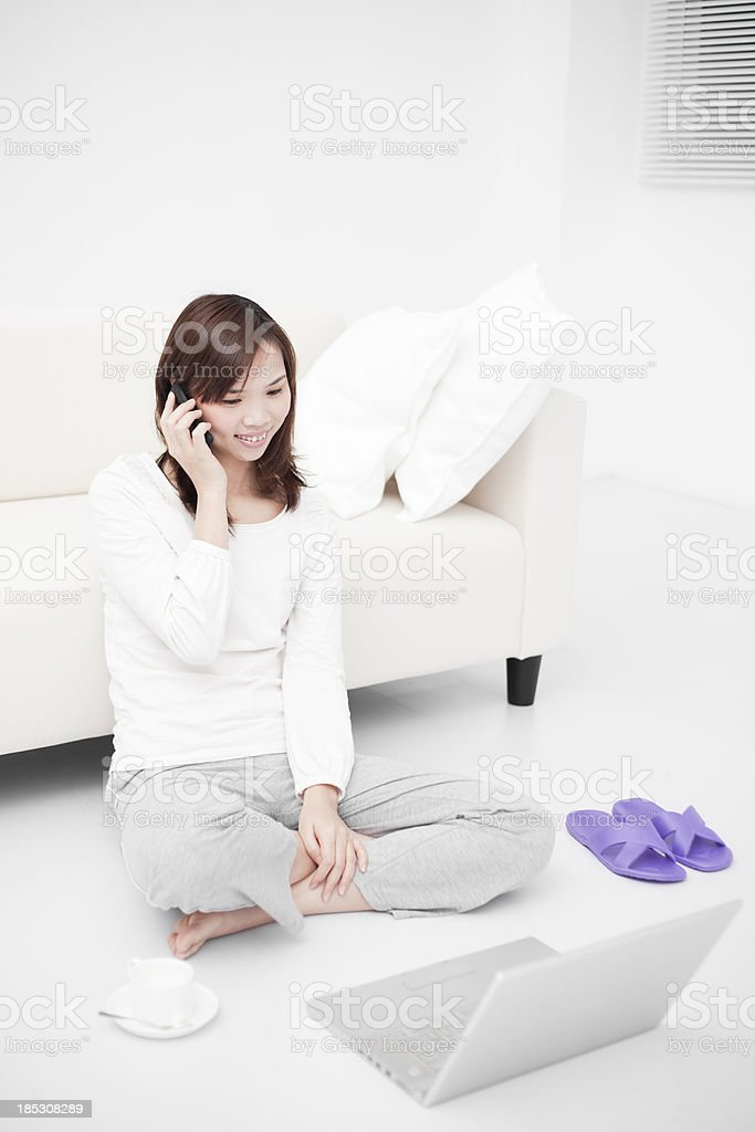 Beautiful woman working at home royalty-free stock photo