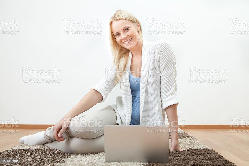 Beautiful woman working on computer stock photo