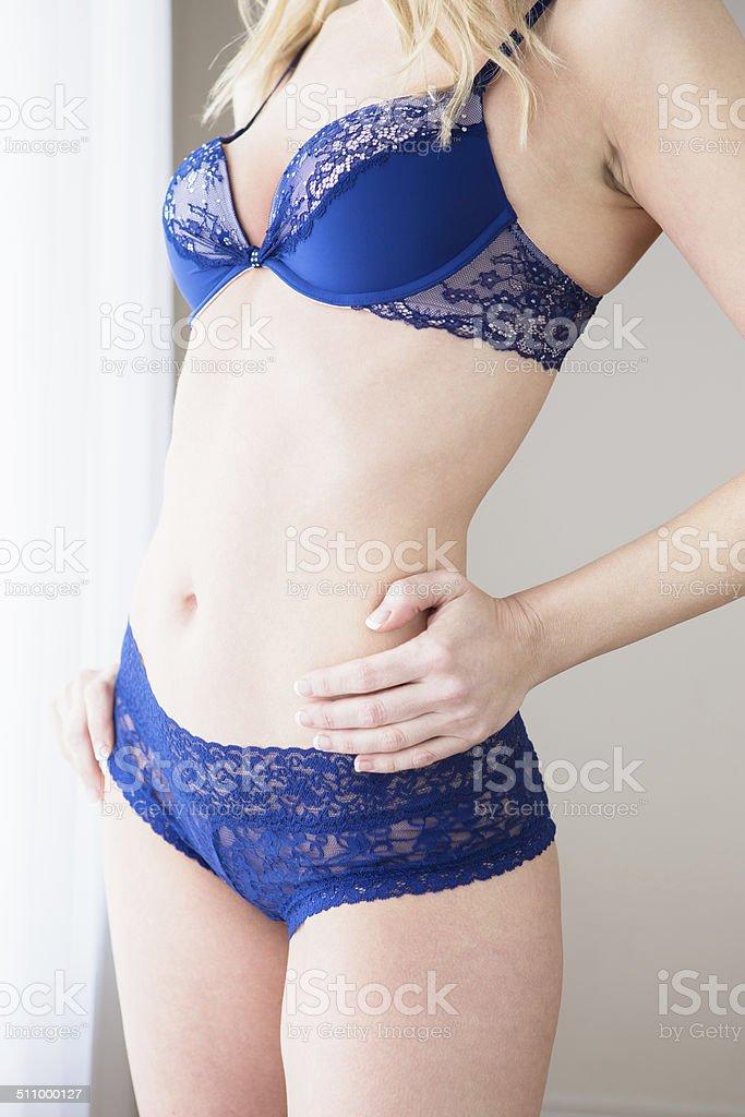 Beautiful woman's body standing stock photo