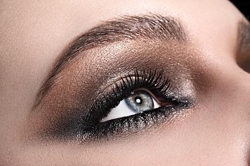 beautiful woman's blue eye close up macro