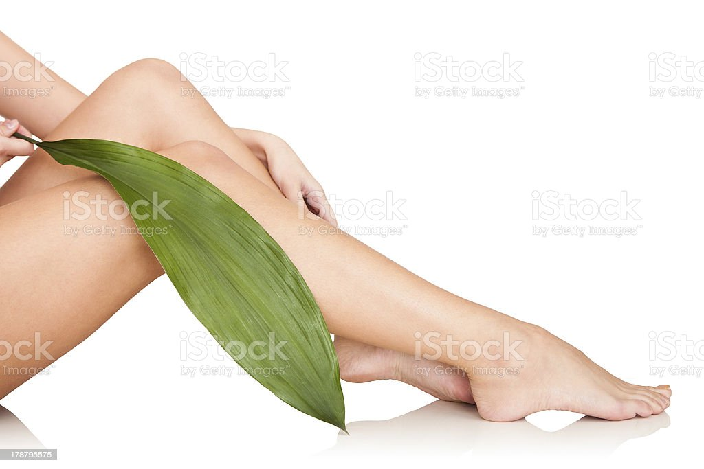 A beautiful woman's legs with a leaf on her knee royalty-free stock photo