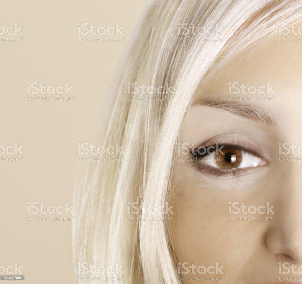 beautiful woman`s open brown eye royalty-free stock photo