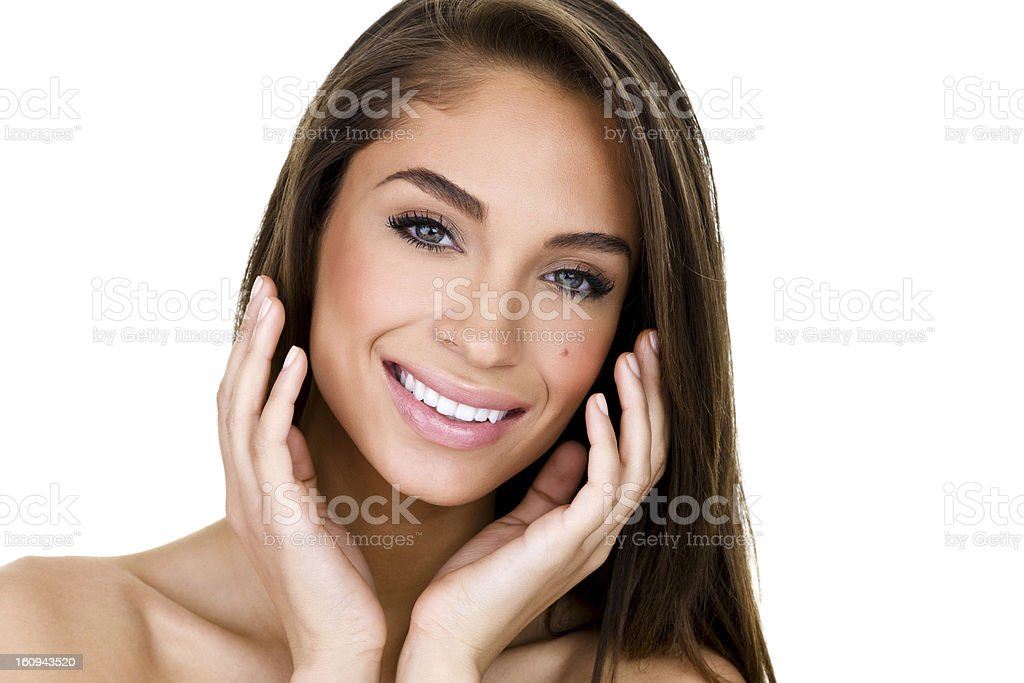 Beautiful womb caressing her face royalty-free stock photo