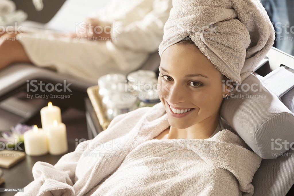Beautiful women at spa stock photo