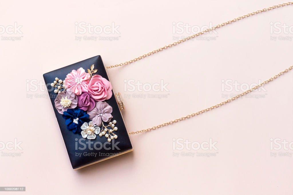 beautiful  women black clutch, wedding bag stock photo