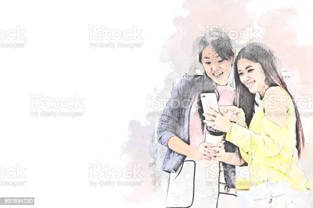 Beautiful women happy for take a photo on mobile phone on watercolor picture id937694230?b=1&k=6&m=937694230&s=612x612&h=d6fwrr4wa681zjt4rho6bbxd3fuh5e82ayue4syuh u=
