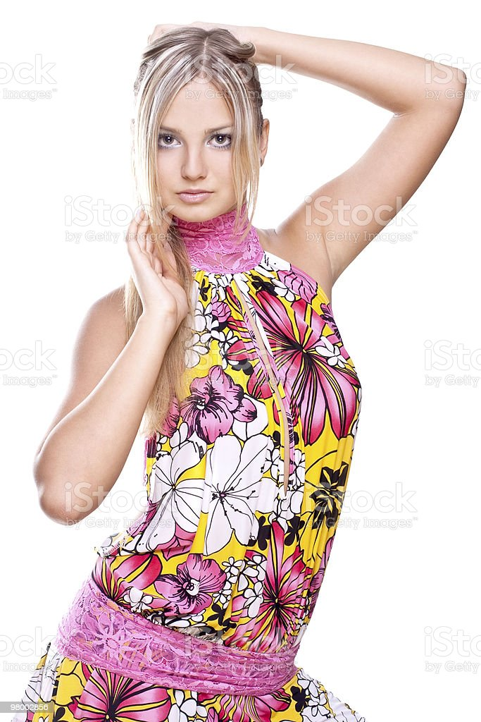 beautiful women in a colored dress royalty free stockfoto
