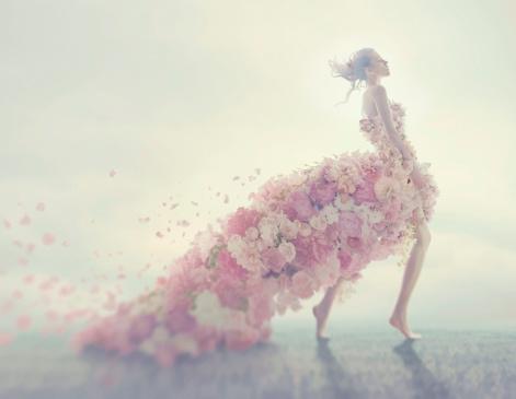 beautiful women in flower dress