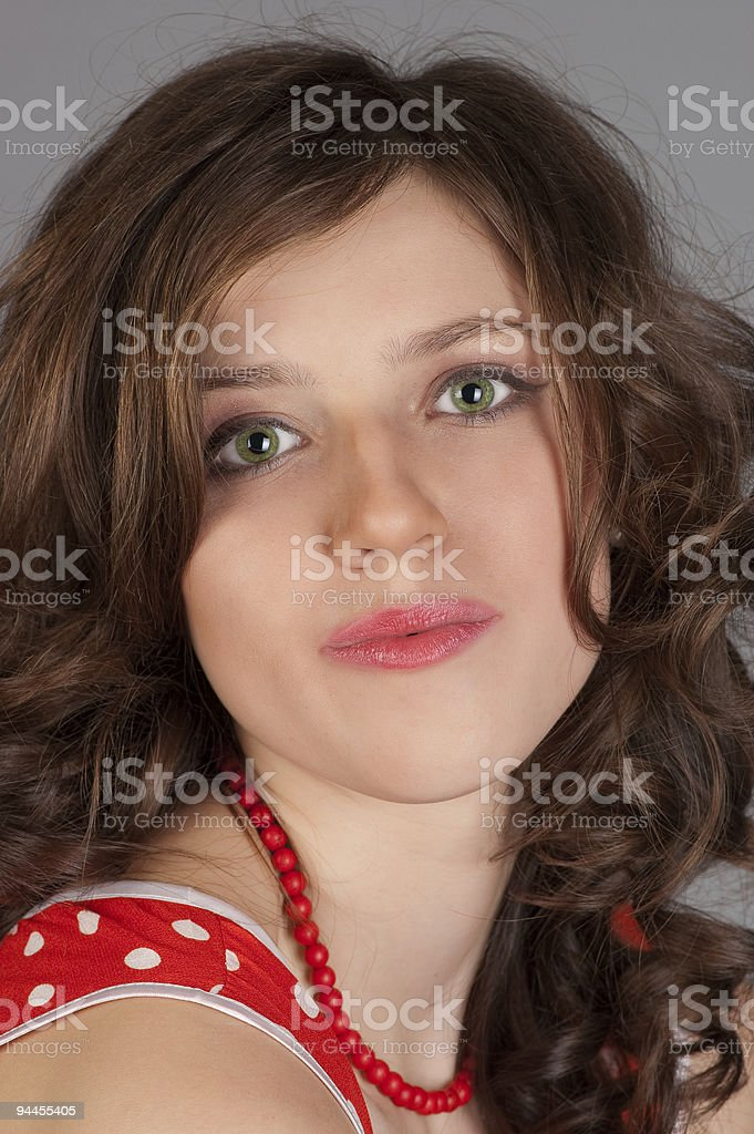 beautiful women in red dress. royalty-free stock photo