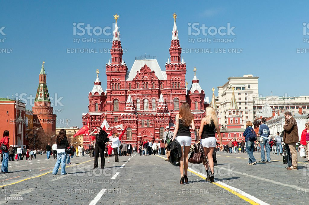 Beautiful Women in Red Square Moscow royalty-free stock photo