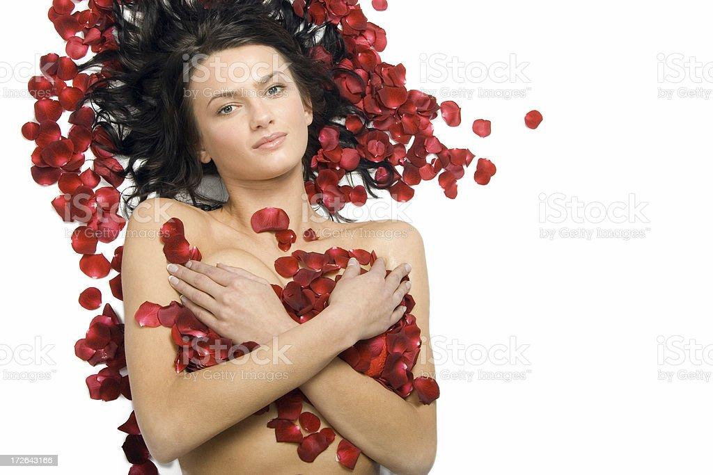Beautiful Women in Rose Petals royalty-free stock photo