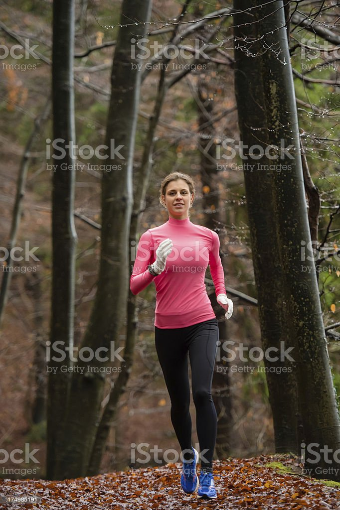 Beautiful women jogging in the forest royalty-free stock photo
