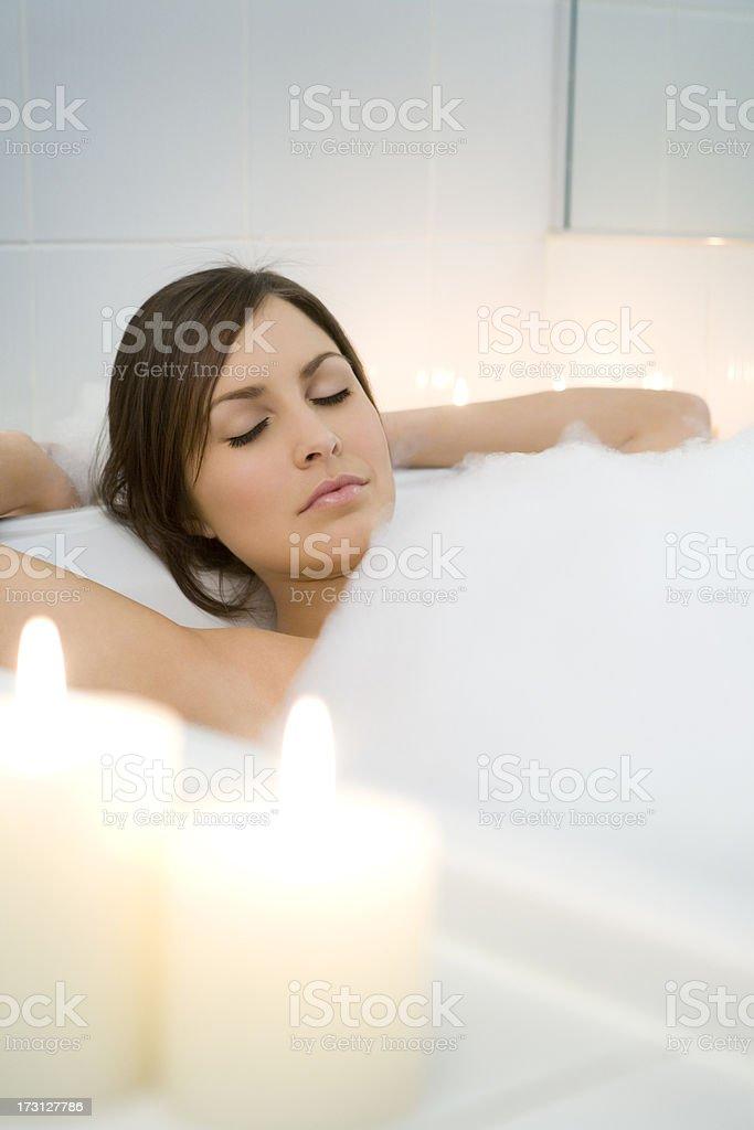 Beautiful Women Relaxing In Her Bath royalty-free stock photo