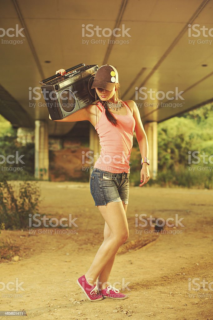 Beautiful women with a tape recorder royalty-free stock photo