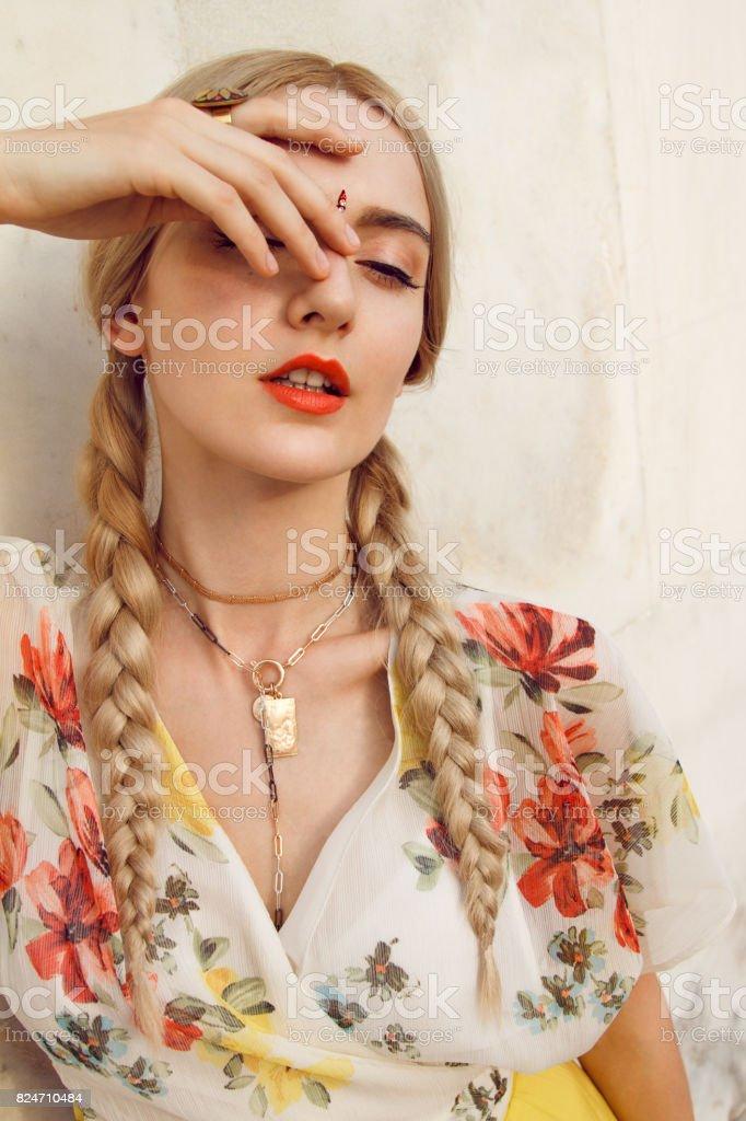 Beautiful women with bindi stock photo