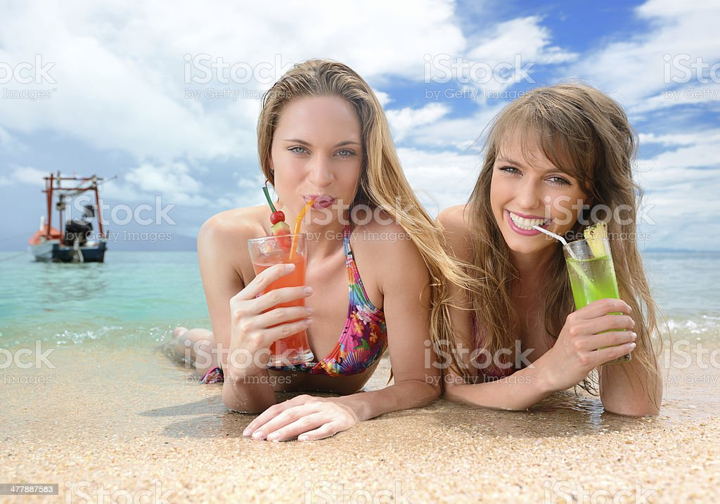 Beautiful women with Cocktails on Vacation royalty-free stock photo