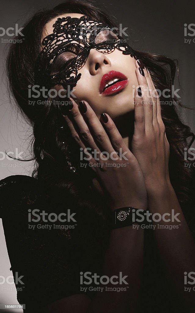 Beautiful women with mask stock photo
