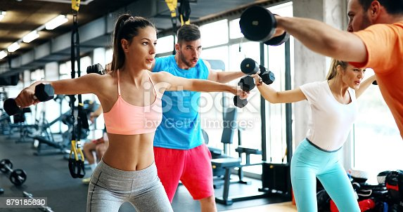 istock Beautiful women working out in gym 879185630