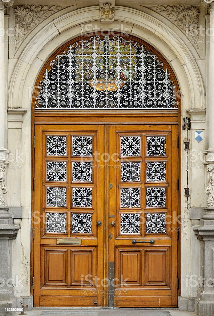 Beautiful wooden door of a noble dutch townhouse stock photo