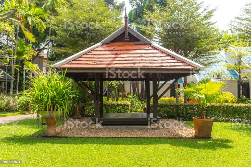 beautiful wooden gazebo stock photo