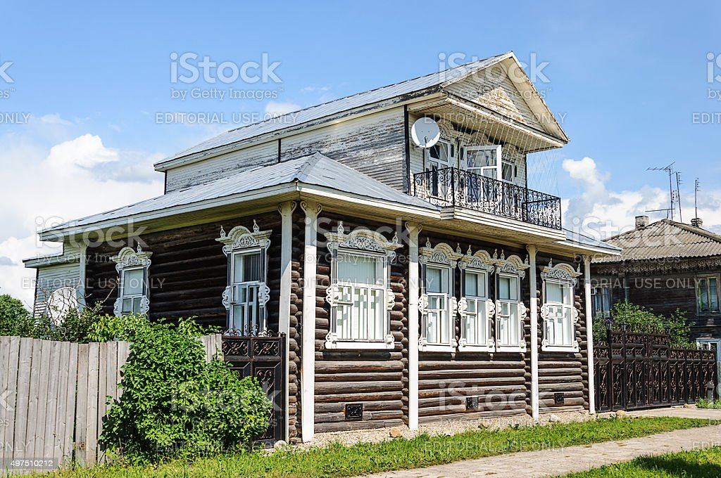 Beautiful wooden house in the country stock photo