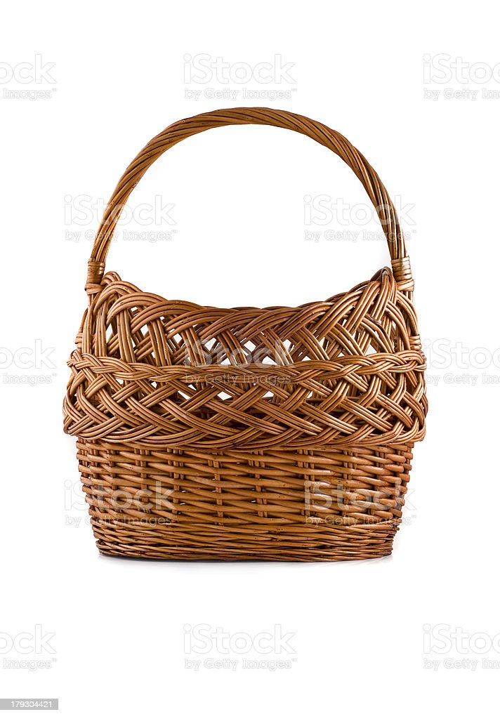Beautiful woven basket for picnic isolated over white royalty-free stock photo