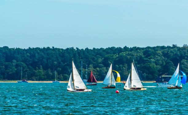 Belo iate na baía, navegando no oceano, claro céu, água azul, recreação Esportes - foto de acervo