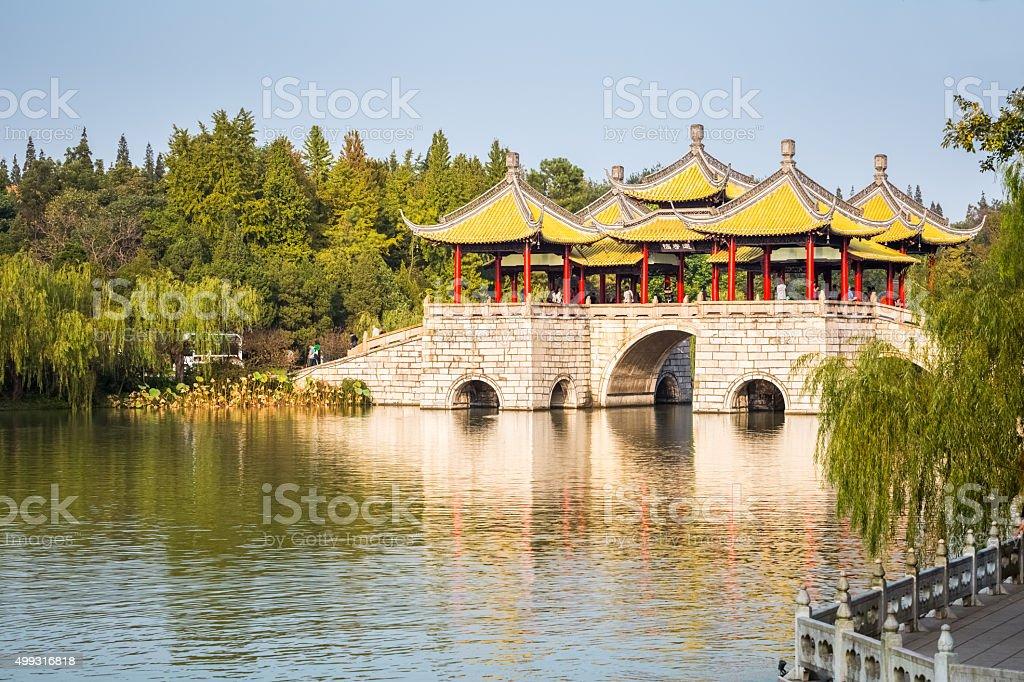 beautiful yangzhou five pavilion bridge stock photo