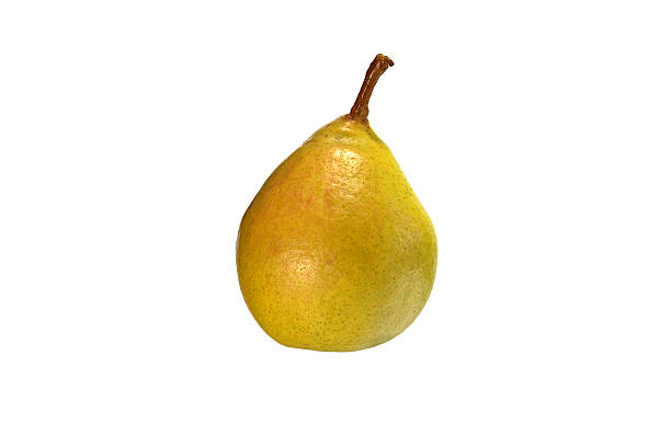 Beautiful yellow pear close-up on a white background.
