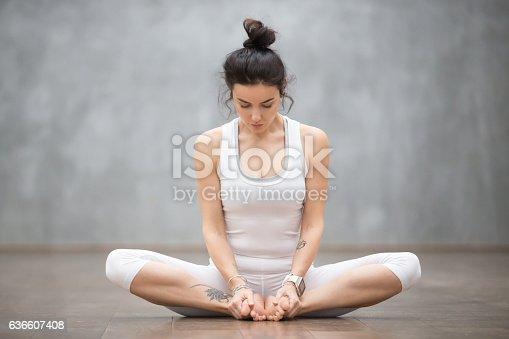 istock Beautiful Yoga: Bound angle pose 636607408