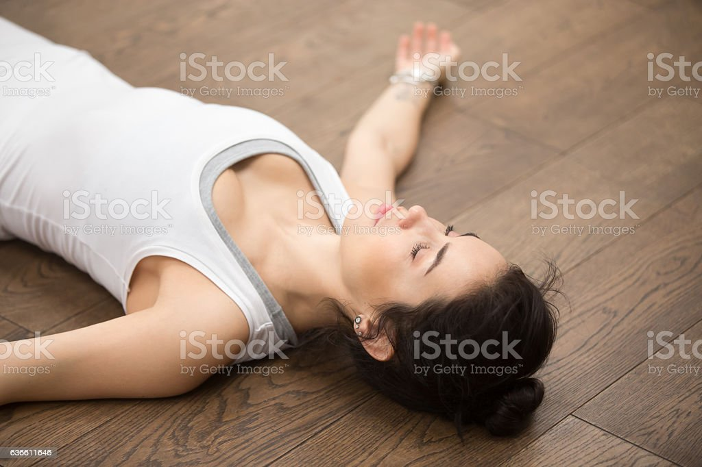 Beautiful Yoga: resting after practice stock photo
