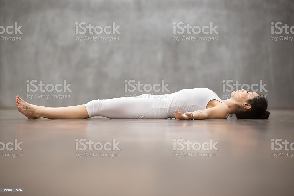 Beautiful Yoga: Shavasana Pose stock photo
