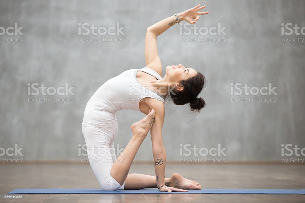 Beautiful Yoga: ustrasana pose stock photo